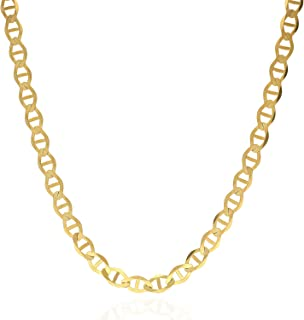 """14K Solid Yellow Gold 5mm Mariner Link Chain Necklace 18"""" 20"""" 22"""" 24"""" 26"""""""