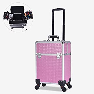 Makeup Train Case Professional Adjustable Cosmetic Cases Makeup Storage Organizer Box with Lock and Compartments