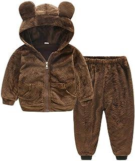 Glaiidy Niños Niño Bebé Niña Niño Invierno Cálido Abrigo De Manga Larga Moda Completi Felpa Color Sólido Sudadera con Capu...
