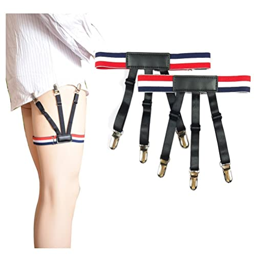 Jelinda Side Fixing Adjustable Shirt Stay Garters with Non-slip Locking Clamps
