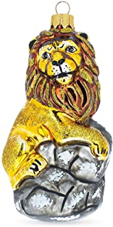BestPysanky Lion On The Rock Mouth Blown Glass Christmas Ornament 5.2 Inches
