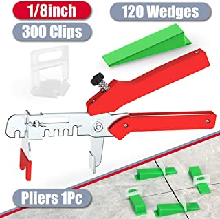 YEFU Tile Leveling System 1/8'' Kit Include 300 PCS Tile Spacers Clips and 120..