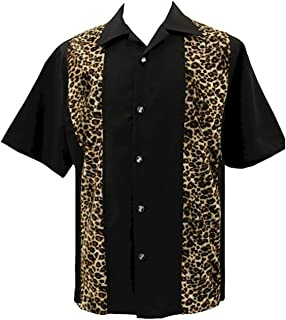 Men's Bowling Rockabilly Leopard Print Shirt Leopard & Dice Buttons