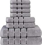 Utopia Towels - Juego de Toallas Grises frías 8 - Toallas de Rayas de Viscosa -...