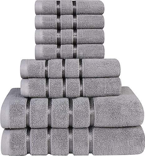 Utopia Towels - Juego de Toallas Grises frías 8 - Toallas de Rayas de Viscosa - 600 gsm algodón Ring Spun - Toallas de Alta absorción (Paquete de 8)