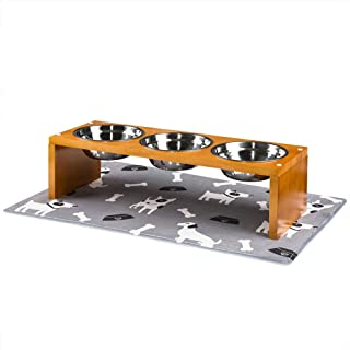 Yangbaga Elevated Dog Bowls, Raised Dog Bowls with Stainless Steel Dog Bowls, Came with Anti-Slip Feet for The Stand and Noise Preventing Bulges for Bowls
