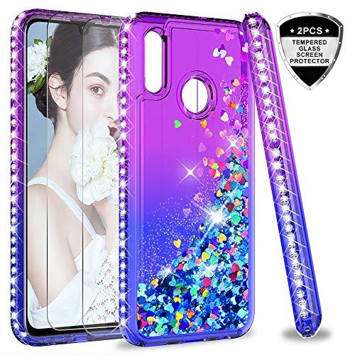LeYi Hülle Huawei P Smart 2019 Glitzer Handyhülle mit Panzerglas Schutzfolie(2 Stück), Diamond Cover Bumper Schutzhülle für Case Huawei P Smart 2019 / Honor 10 Lite Handy Hüllen ZX Purple Blue