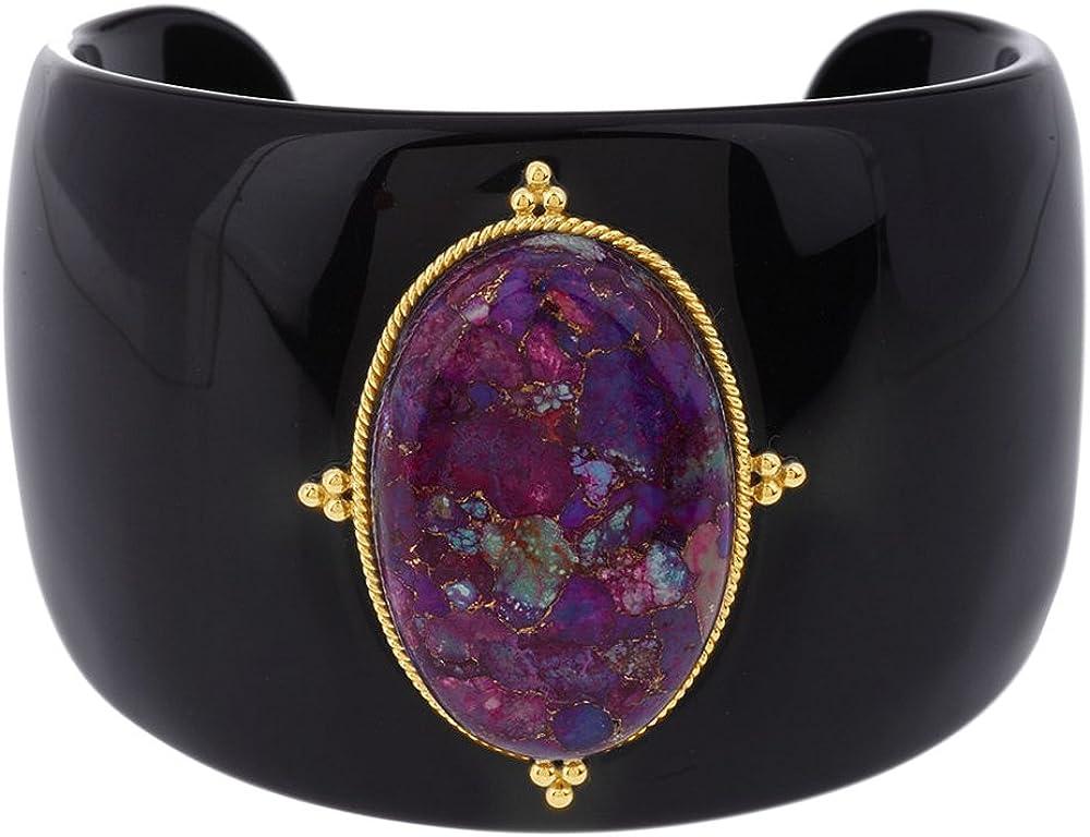 AFFY Bold Purple Composite Turquoise Resin Cuff Bangle Bracelet,
