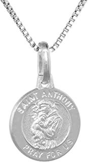 Dainty Sterling Silver St Anthony Medal Necklace 1/2 inch Round Italy 0.8mm Chain