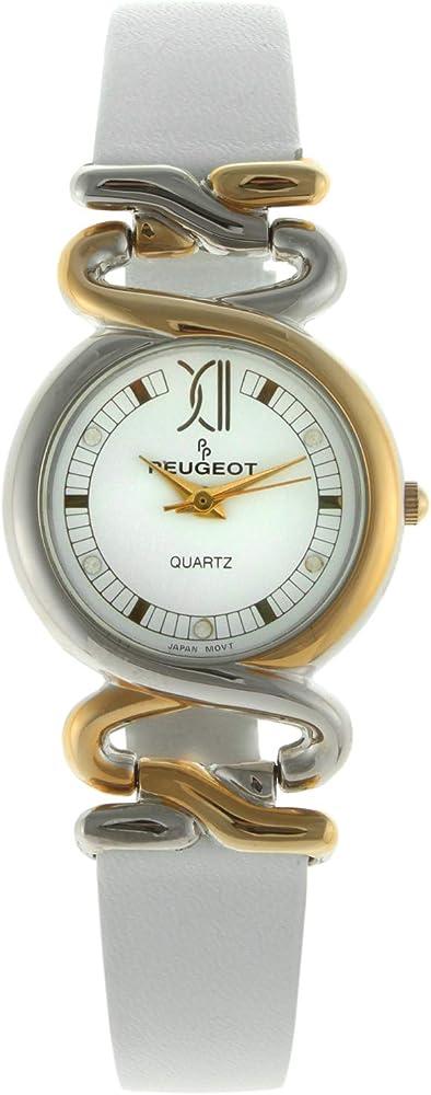 Peugeot,orologio per donna,cinturino in vera pelle e cassa in acciaio 381-16