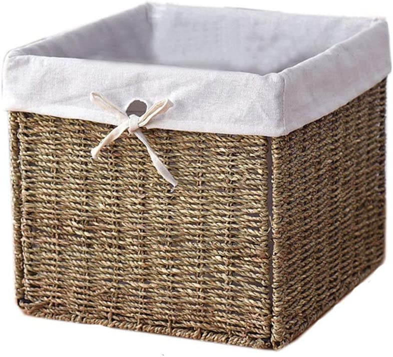 Foldable Square Lidless Storage Bucket 2021 spring and summer new with Hand-Woven Lin Inner New arrival
