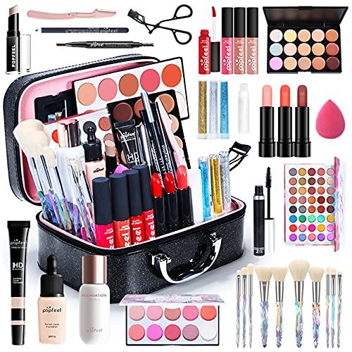 Kit de Maquillaje Profesional Completo, MKNZOME 34 piezas Set de Maquillaje Mujer con Estuches de Maquillaje Portátil Paletas de Sombras de Ojos Fundación barra de labios para Mujeres Niñas