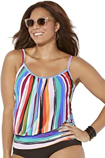 Swimsuits for All Women's Plus Size Blue White Blouson Tankini Top