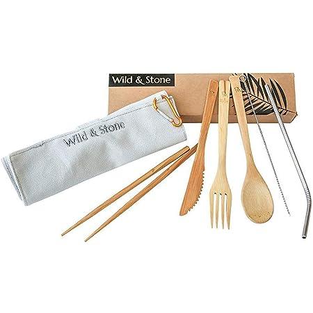 Wild & Stone   Reutilizable orgánico de bambú de Picnic Cubiertos Conjunto   Cuchara, Tenedor, Cuchillo, Palillos y Acero Inoxidable Paja de Lino ...