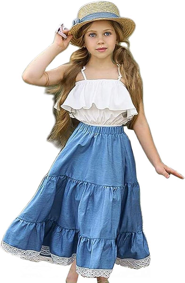 LXXIASHI 2PCS Toddler Baby Girl Halter Off Shoulder Ruffle Crop Top + Maxi Long Skirt Outfits Set