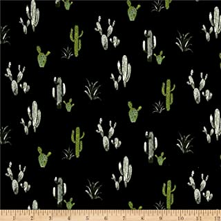 Fabric & Fabric Double Brushed Poly Spandex Jersey Knit Cacti Black/Green, Fabric by the Yard
