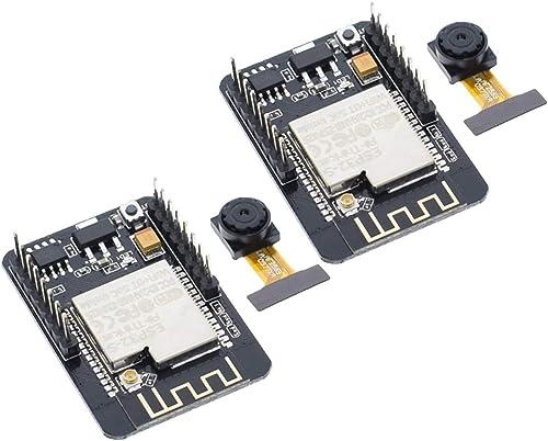 TECNOIOT 2pcs Camera Module ESP32-CAM Bluetooth Module WiFi Board Development ESP32 OV2640 (Camera Included)