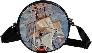 Coosun Umhängetasche für Boote, Meeresschiffe, Ozean, Marine, Yacht, runde Umhängetasche für Kinder und Damen