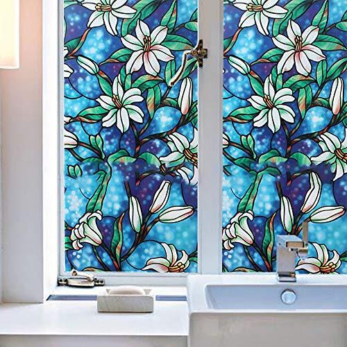 Bloeding Statisch hechtende raamfolie decoratieve folie, statische raamfolie, zelfklevende decoratieve folie tegen inkijk, decoratieve folie anti-uv-melkglasfolie 200×40cm/78×15in blauw