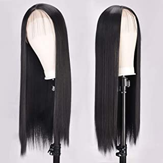 AISI QUEENS Black Lace Front Wigs Synthetic Long Straight Hair Wigs for Women Middle Part Full Wigs with Baby Hair Natural Looking Heat Resistant Fiber