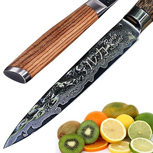 Ruka - Cuchillo Multiusos de Acero de Damasco (13 cm, Aspecto Martillado,...