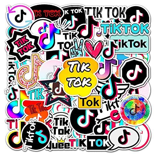 Later Tik Tok TIKTOK Dibujos Animados Graffiti Pegatina Tablet PC Equipaje Coche Teléfono Guitarra Decoración Pegatina 50PCS