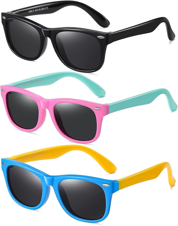 DYLB Kids Polarized Sunglasses for girls boys 3 Pack, Flexible...