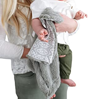 Minky Ultra Soft Baby Blankets Security Blankets with Printed Ikat Gray Design by Graced Soft Luxuries