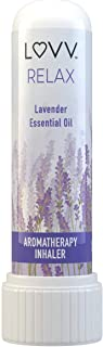 RELAX Portable Lavender Aromatherapy Nasal Inhaler - Calming Stress & Anxiety Relief - Personal Pocket Essential Oil Diffuser - Mini Container for Easy Travel