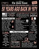 50th Birthday Decorations for Women or Men, Rose Gold Party Decorations, Birthday Card Poster for Him or Her Turning 50 Years Old, Back in 1971 Print (8 x 10, UNFRAMED, Rose Gold)