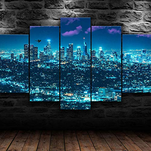 MMSY Premium Canvas Art Print Wall Deco Xxl Giclee Canvas Print, Wall Art Canvas Picture 5 Pieces Los Angeles La City Canvas Picture Stretched On A Frame Canvas