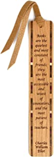 C.W. Eliot - Books are Friends and Teachers Quote - Engraved Wooden Bookmark with Tassel
