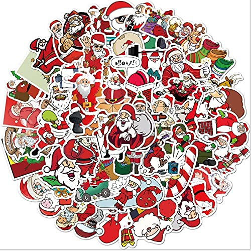 DUOYOU Navidad vacaciones Santa Graffiti impermeable Skateboard viaje maleta teléfono portátil equipaje pegatinas lindo niños niña juguetes 50 piezas