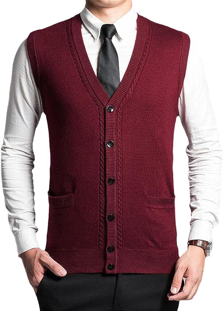 Men's Sweater Pullover Men Cardigan Vest Sweaters Wool V-Neck Sleeveless Vest