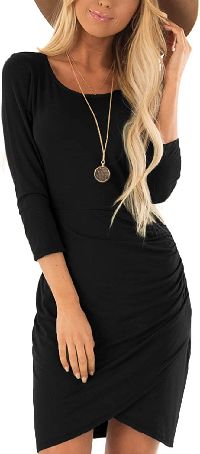 SUNNYME Ruched Bodycon Dresses for Women Casual 3/4 Sleeve T Shirt Short Mini Dress