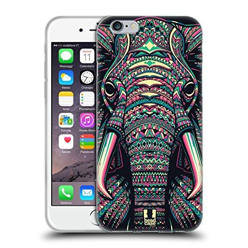 Head Case Designs Elefante Facce di Animali Aztechi 2 Cover in Morbido Gel e Sfondo di Design Abbinato Compatibile con Apple iPhone 6 / iPhone 6s