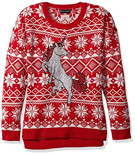 Blizzard Bay Women's Ugly Christmas Sweater, Unicorn White, Large