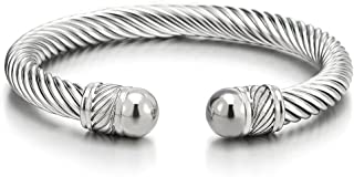 Elastic Adjustable Stainless Steel Twisted Cable Cuff Bangle Bracelet for Men Women