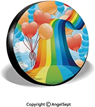 Tire Cover,Rainbow Sky with Balloons Hearts Colors Romantic Love Valentines Spring Theme,Multi,for Jeep,Trailer, RV, SUV and Many Vehicle 14
