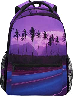Women/Man Canvas Backpack Special Hawaii Palm Trees On Sunset Zipper College School Bookbag Daypack Travel Rucksack Gym Bag For Youth