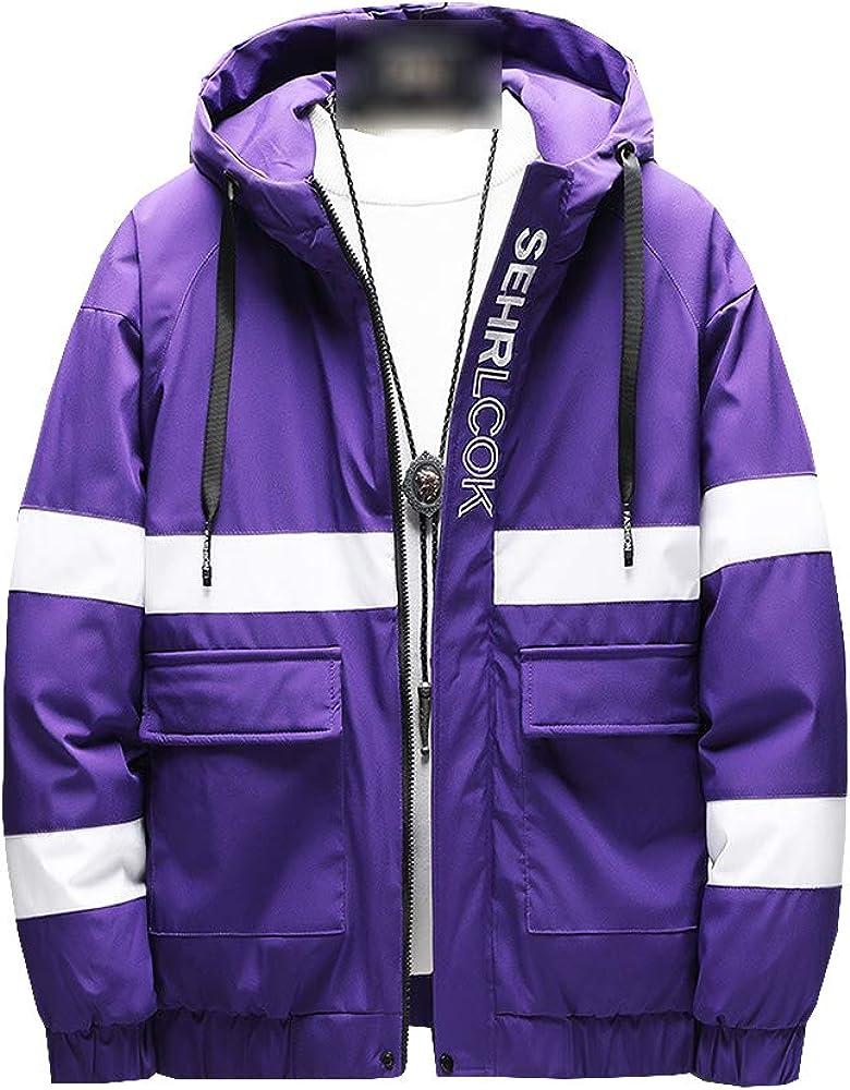 Arlita Men's Winter Warm Thicken Stripes Cotton Coat Hooded Puffer Jacket