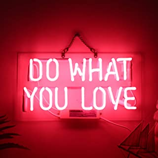 Neon Signs,DO What You Love Real Glass Neon Sign Beer Bar Pub Store Home Room Party Light Sign Neon Lamp Wall Artwork Signs, Prepaid Custom Duty(14.5