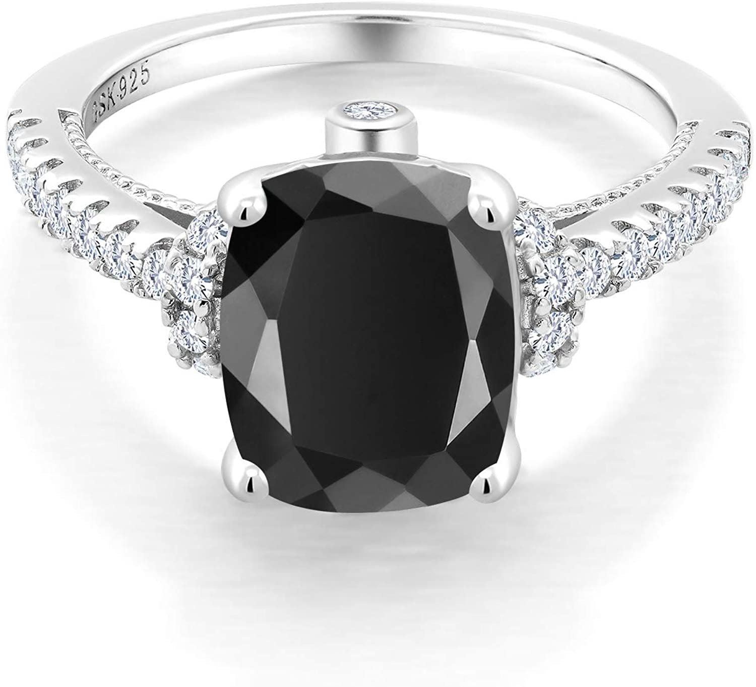 Gem Stone King 925 Sterling Recommended Silver Atlanta Mall Onyx and Created White Black
