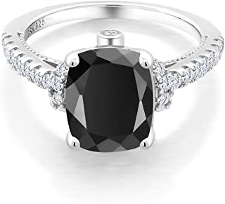 925 Sterling Silver Black Onyx and White Created Sapphire Women's Ring (3.14 Ct Cushion Cut, Available in size 5, 6, 7, 8, 9)