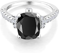 Gem Stone King 925 Sterling Silver Black Onyx and White Created Sapphire Women's Ring (3.14 Ct Cushion Cut, Available in size 5, 6, 7, 8, 9)