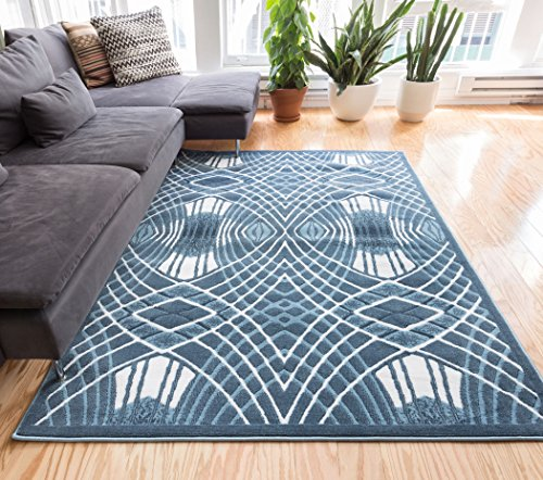 Well Woven Nazar Blue Tribal Lattice Vintage Modern Casual Traditional Trellis 5x7 (5' x 7'2'') Area Rug Thick Soft Plush Shed Free