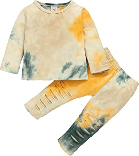 Toddler Baby Girl Boy Tie Dye Long Sleeve T-Shirt Tops and Pants 2Pcs Clothes Outfits Set