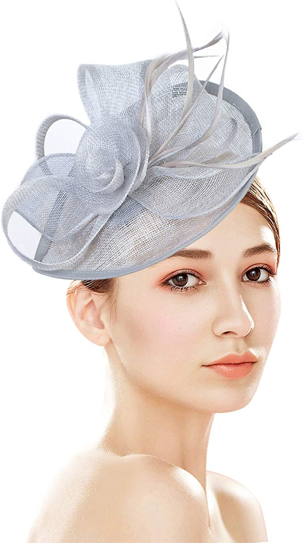 Z&X Sinamay Fascinator Hats for Women Church Kentucky Derby Hat Flower Feather Wedding Fascinator Headband Clips