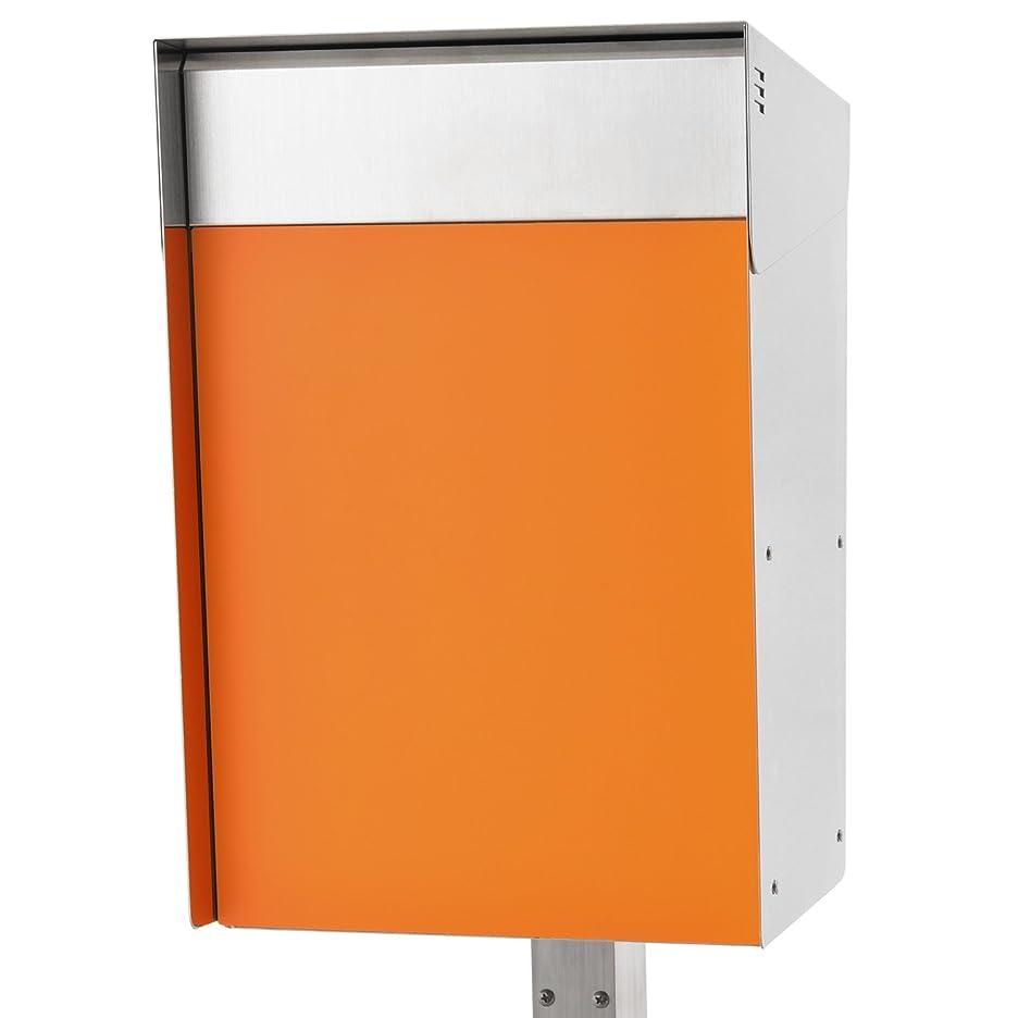 価格アブストラクト慣れるSan Jose light(サンノゼライト) トール 郵便ポスト ポール付き スタンド型 防錆 ステンレス製 鍵付き おしゃれ 大型 アメリカンポスト 大容量 郵便受け 防水構造 日本製 オレンジ