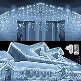 Qedertek 432 LED Cortina de luces Prolongable, 10M Guirnalda Luces de Hada Decorativas Navidad, Luces de Navidad Blanco Frio,...